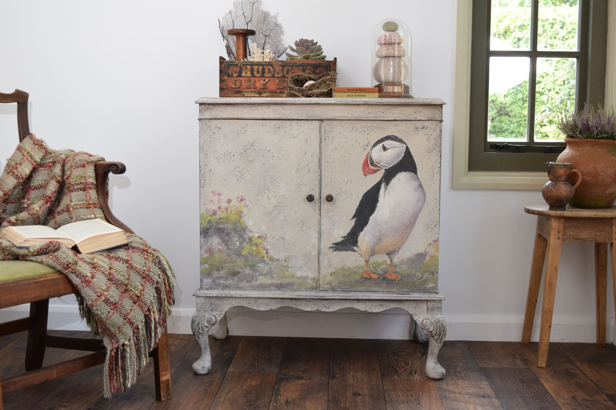 Puffin cabinet hand-painted with Annie Sloan Chalk Paint over Saltwash
