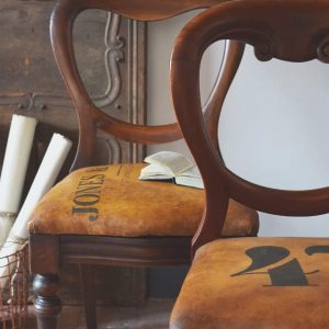 Fabric painted leather look chair by Jonathon Marc Mendes