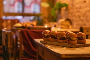 Delicious burgers at The Elgin Maida Vale for IOD party